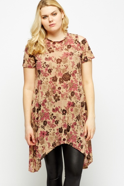Sheer Floral Cold Shoulder Asymmetric Top