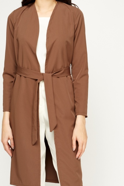 Chocolate Long Belted Jacket