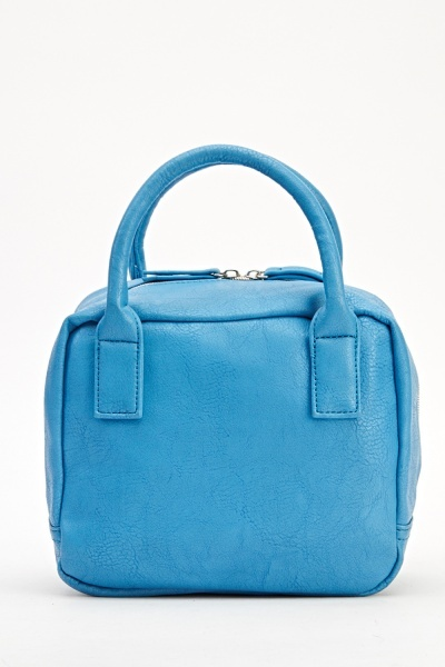 Image of Contrast Zip Faux Leather Handbag