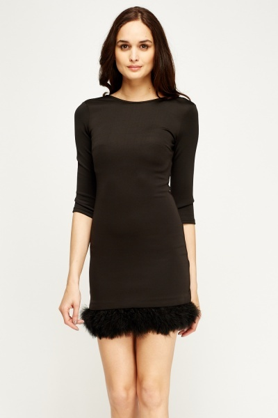 Faux Fur Trim Black Dress