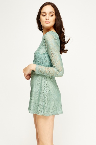 Green Crochet Overlay Playsuit
