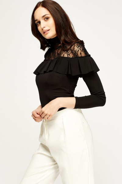 High Neck Lace Insert Frilled Top