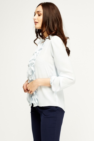 Ruffled Trim Sheer Blouse