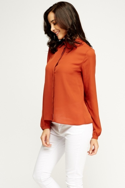 Button Up Rust Blouse