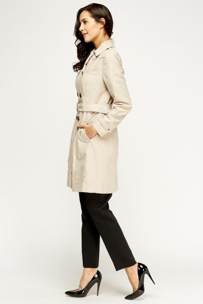 Double Breasted Belted Long Trench Coat
