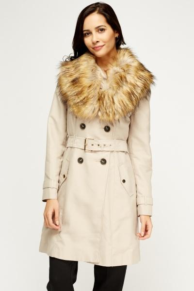 Image of Faux Fur Khaki Collar