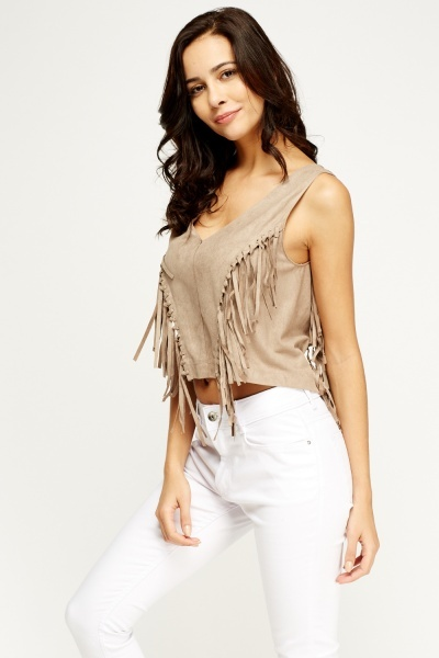 Fringed Suedette Cropped Top