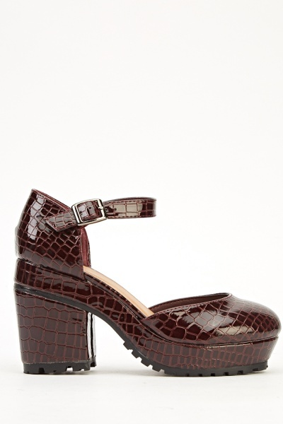 Mock Croc Burgundy Sandals Just 163 5
