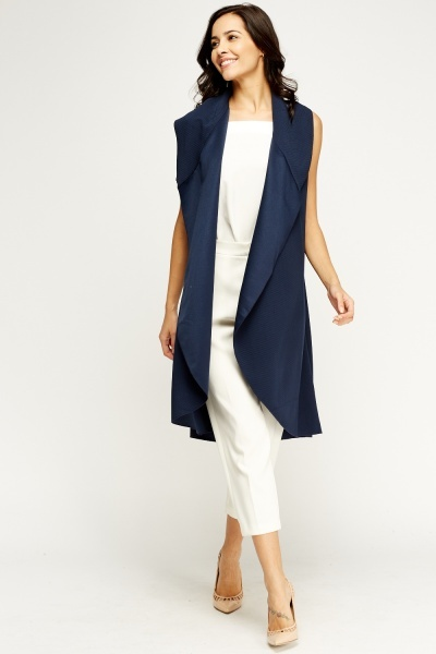 Open Front Waterfall Sleeveless Cardigan