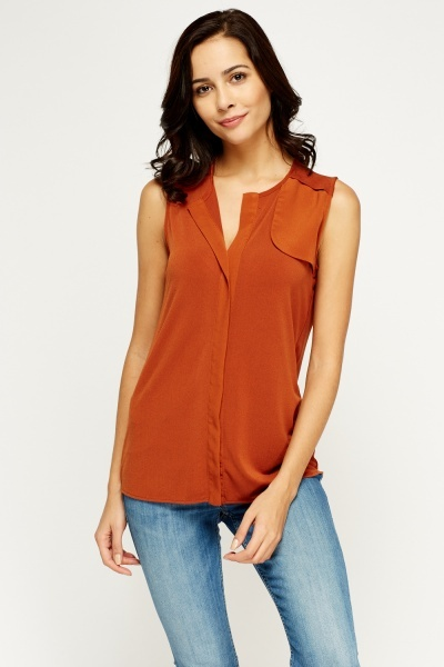 Sleeveless V-neck Blouse