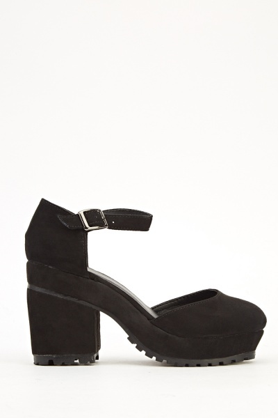 Suedette Block Heel Black Sandals
