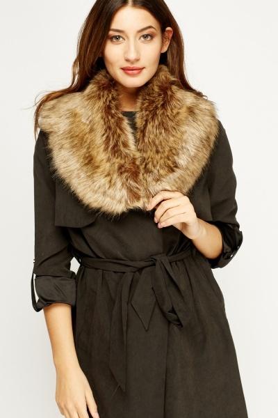 Image of Brown Faux Fur Collar