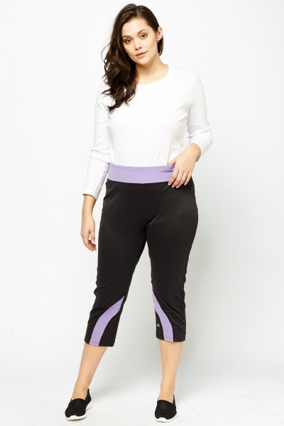 Contrast Trim Cropped Sport Leggings