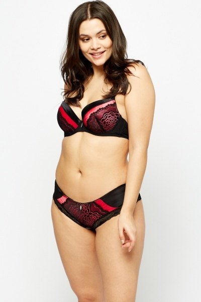 Lace Contrast Satin Bra And Brief Set