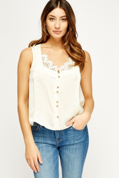 Lace Trim Button Up Top