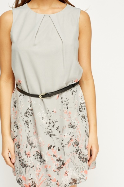 Mixed Print Belted Shift Dress