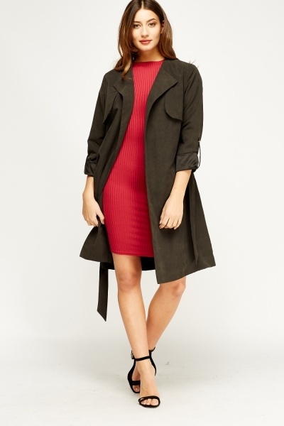 Open Front Belted Charcoal Jacket