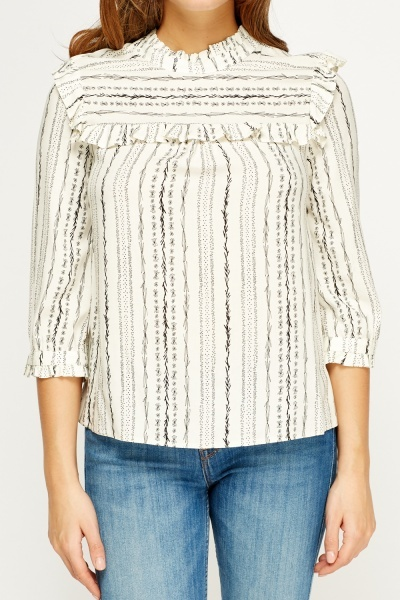 Ruffled Trim Printed Blouse