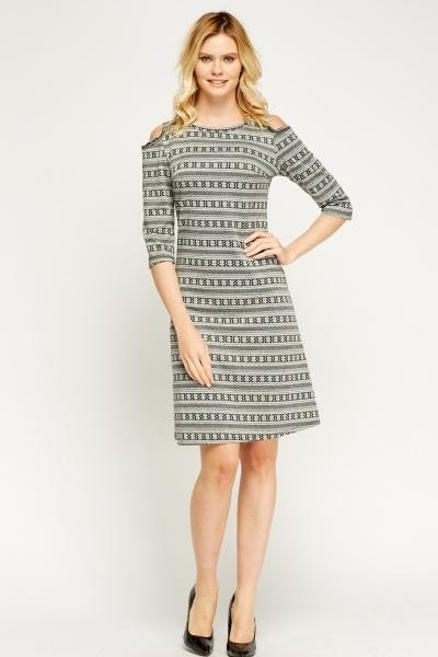 Image of Cold Shoulder Mixed Print Dress