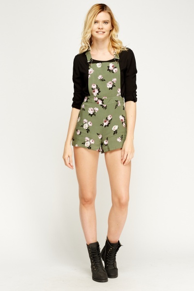 Flower Print Olive Dungarees