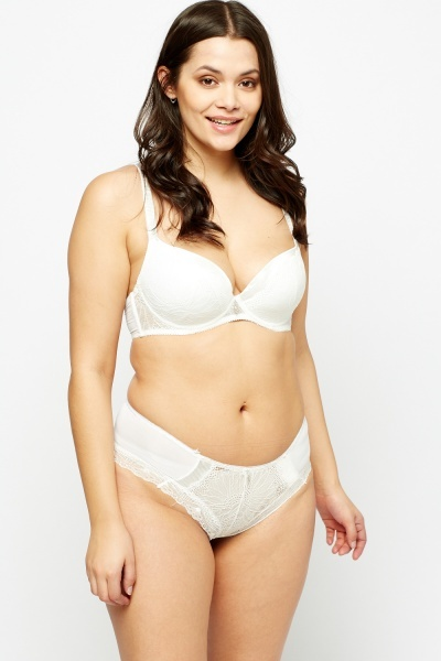 Lace Insert Contrast Bra And Brief Set