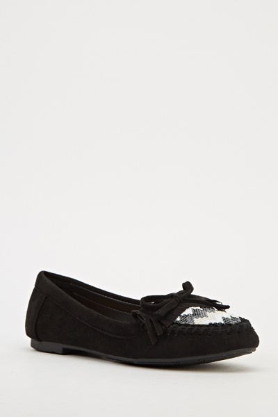 Encrusted Suedette Loafers