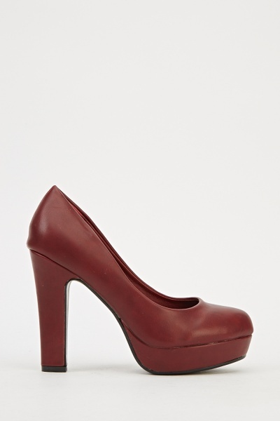 Faux Leather Platformed Heels