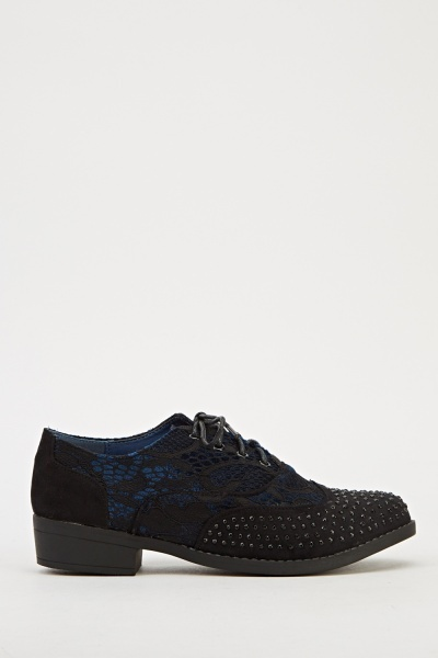Mesh Overlay Encrusted Brogue Shoes