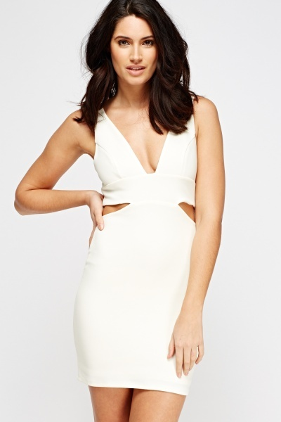 Image of Cut Out Plunge Bodycon Dress