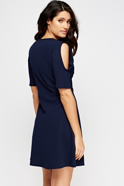 Cut Sleeve Low Neck Dress