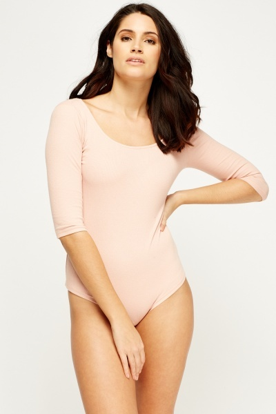 3/4 Sleeve Ribbed Bodysuit