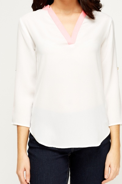 Colour Block Sheer White Blouse