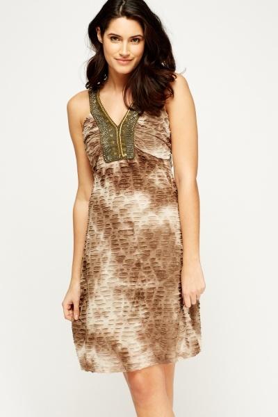 Embellished Neck Printed Dress