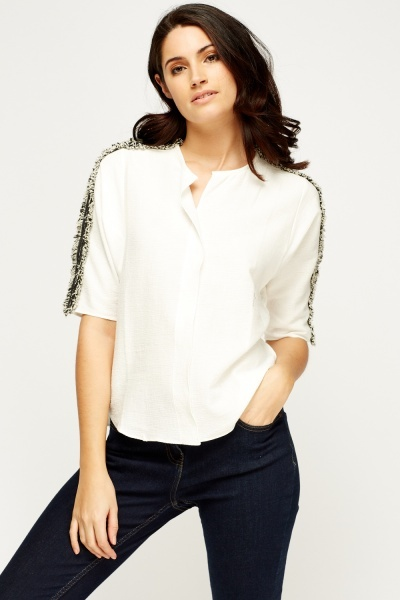 Frayed Sleeve Top