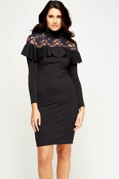 Lace Insert Flared Navy Dress