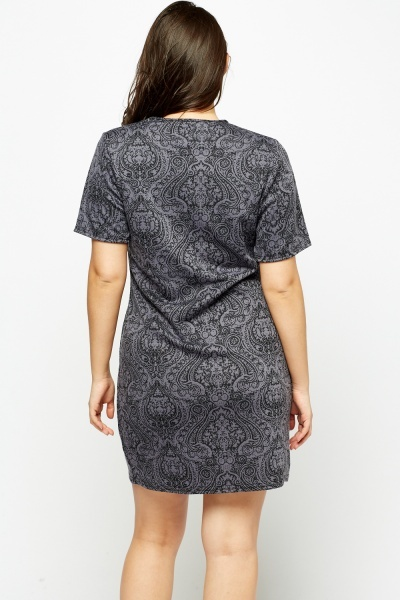 Middle Grey Jacquard Dress