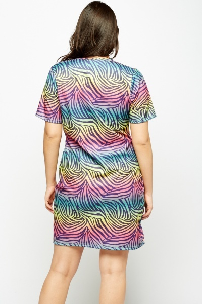 Multi Zebra Print Dress