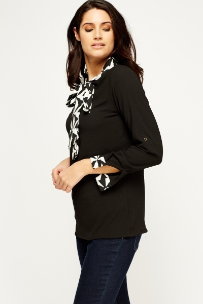 Printed Tied Neck Blouse