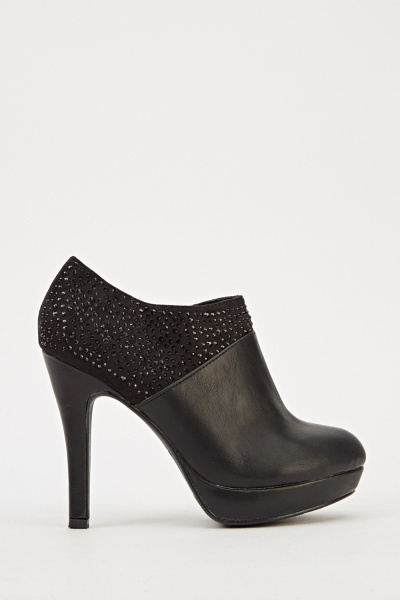 Encrusted Contrast Heeled Ankle Boots