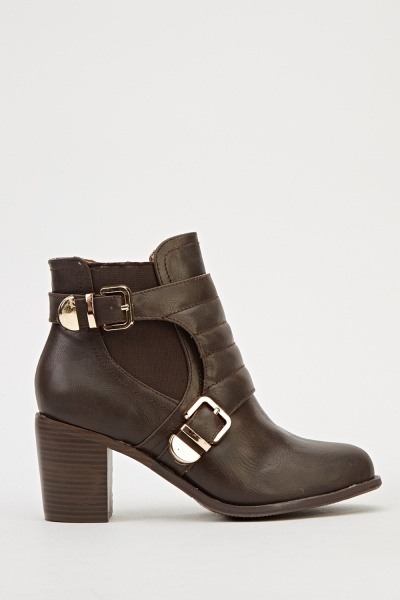 Quilted Buckle Ankle Boots