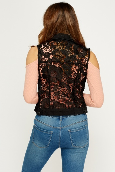 Crochet Denim Black Sleeveless Jacket