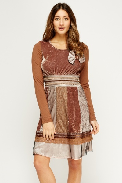 Patchwork Design Skater Dress