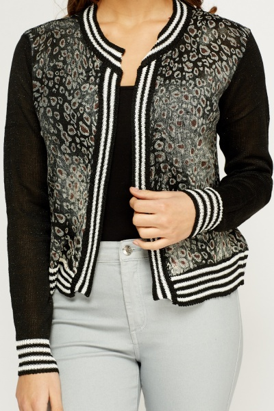 Striped Hem Animal Print Metallic Cardigan