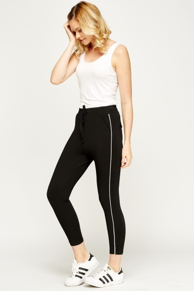 Contrast Stripe Cropped Joggers