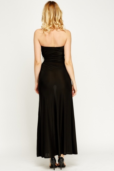 Encrusted Cut Out Side Maxi Dress