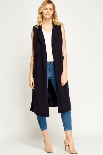 Lapel Front Sleeveless Jacket