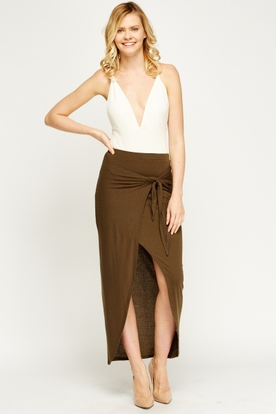 Ribbed Wrap Maxi Skirt