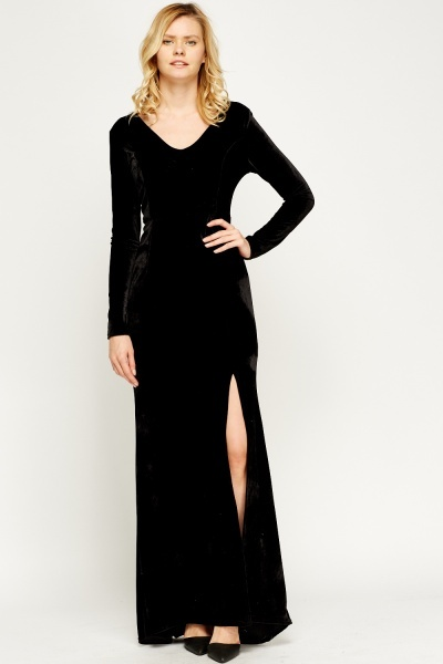 Slit Side Velveteen Maxi Dress