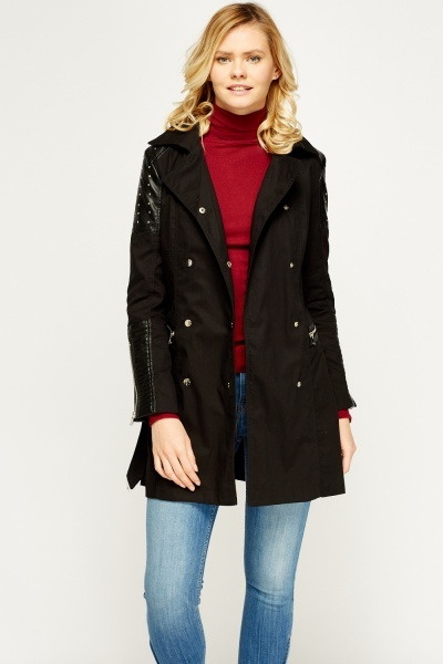 Studded Faux Leather Shoulder Trench Coat
