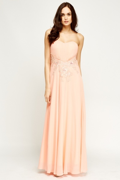 Bandeau Embellished Maxi Dress